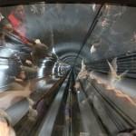 Полностью автоматический поезд в Гуанчжоу, вид через лобовое стекло