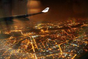 Вид на Дели с самолёта в пять утра