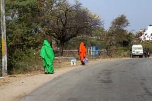 Женщины все носят цветные традиционные сари